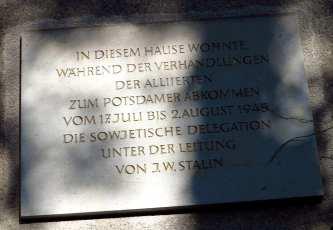 Gedenktafel erinnert an Potsdamer Konferenz