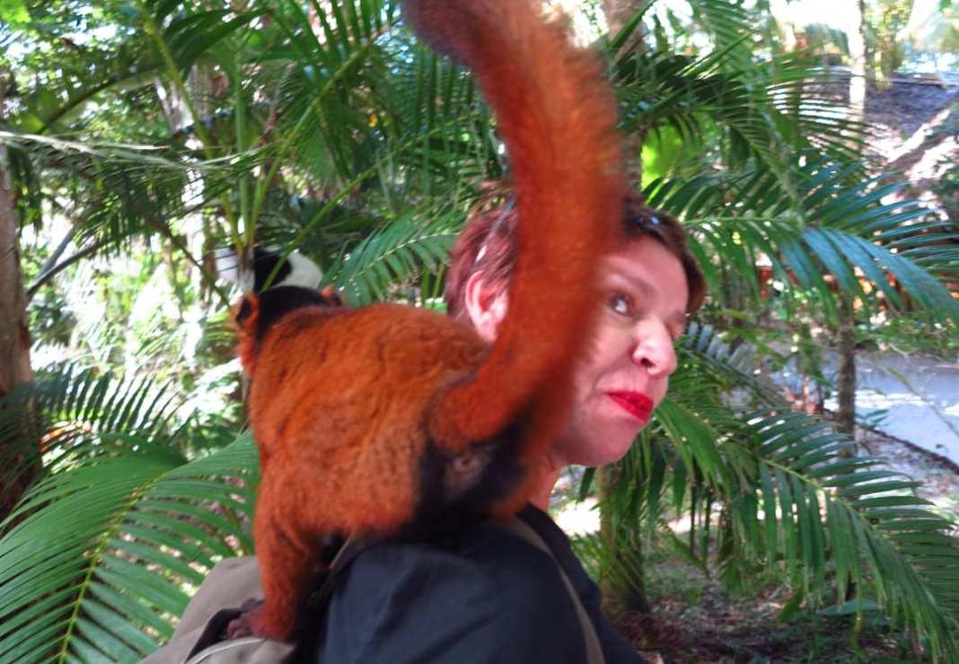Frau mit Lemur auf der Schulter