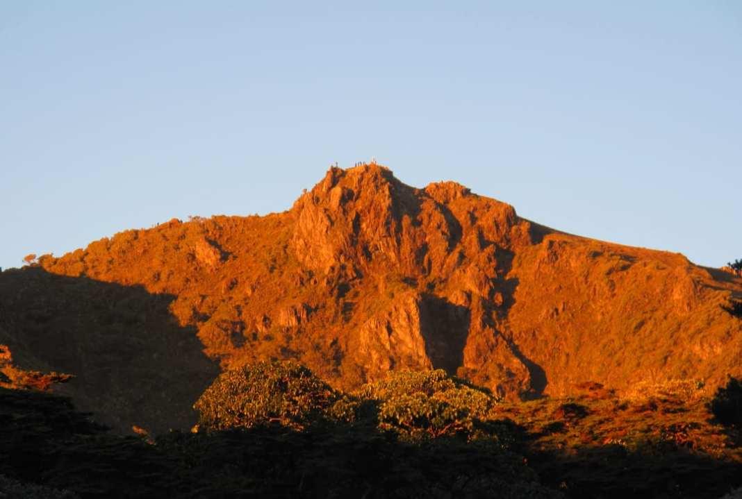 Berg im Morgenglühen