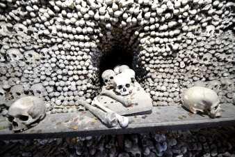 Aufgeschlichtete Knochen samt Schädel