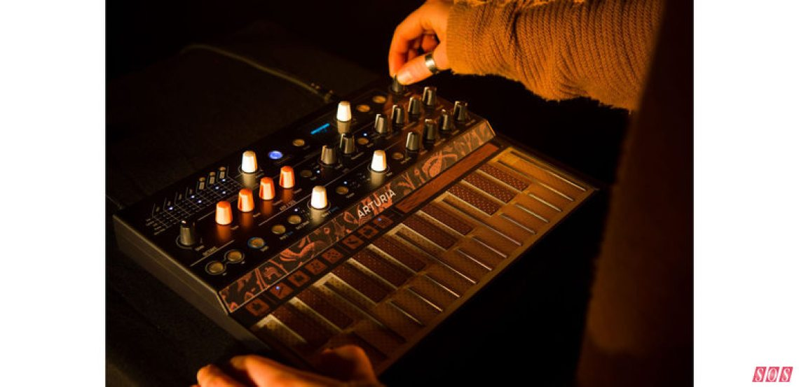 Arturia's experimental Microfreak hardware synth, a hybrid featuring a digital multimode oscillator and an analogue filter.