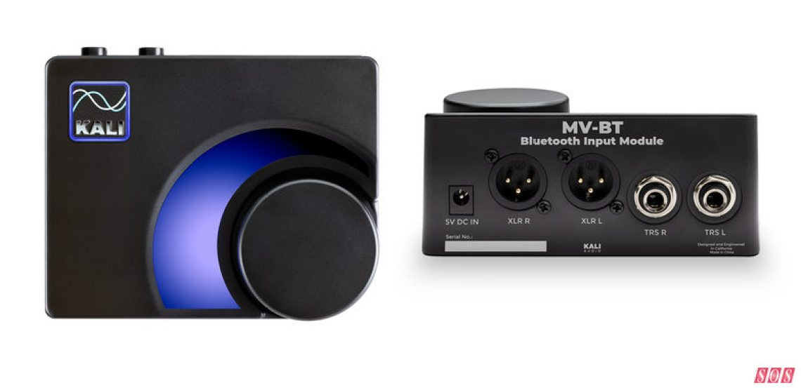 Kali Audio's MV-BT Bluetooth input module allows the company's Lone Pine monitors to be driven over Bluetooth, for example from a producer's phone or laptop.