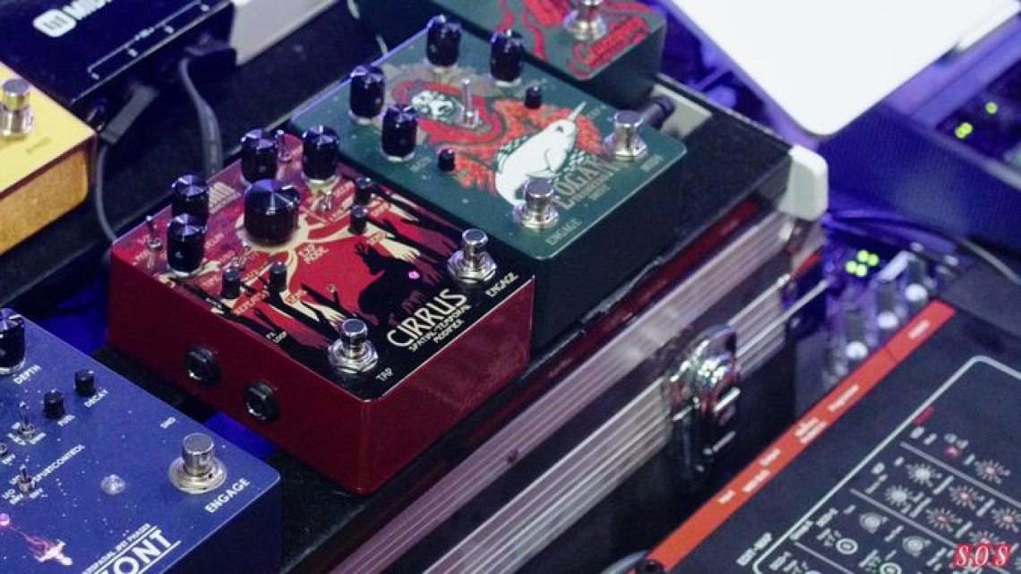 The early prototype Cirrus reverb and delay pedal on display at SynthFest UK 2019.