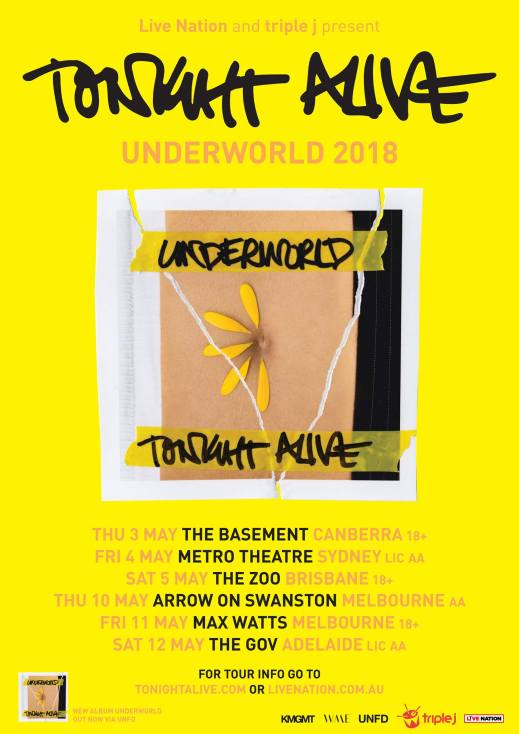 Tonight Alive 2018 Australian Tour Poster