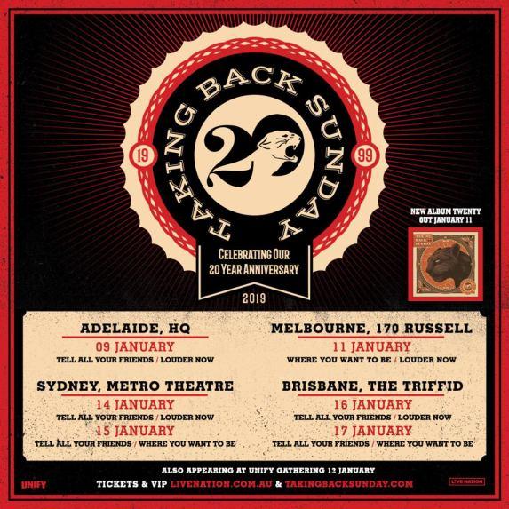 Taking Back Sunday 2019 Tour Poster