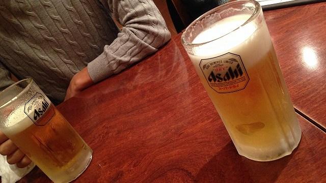 久しぶりに会った友達とビールを飲む♪
