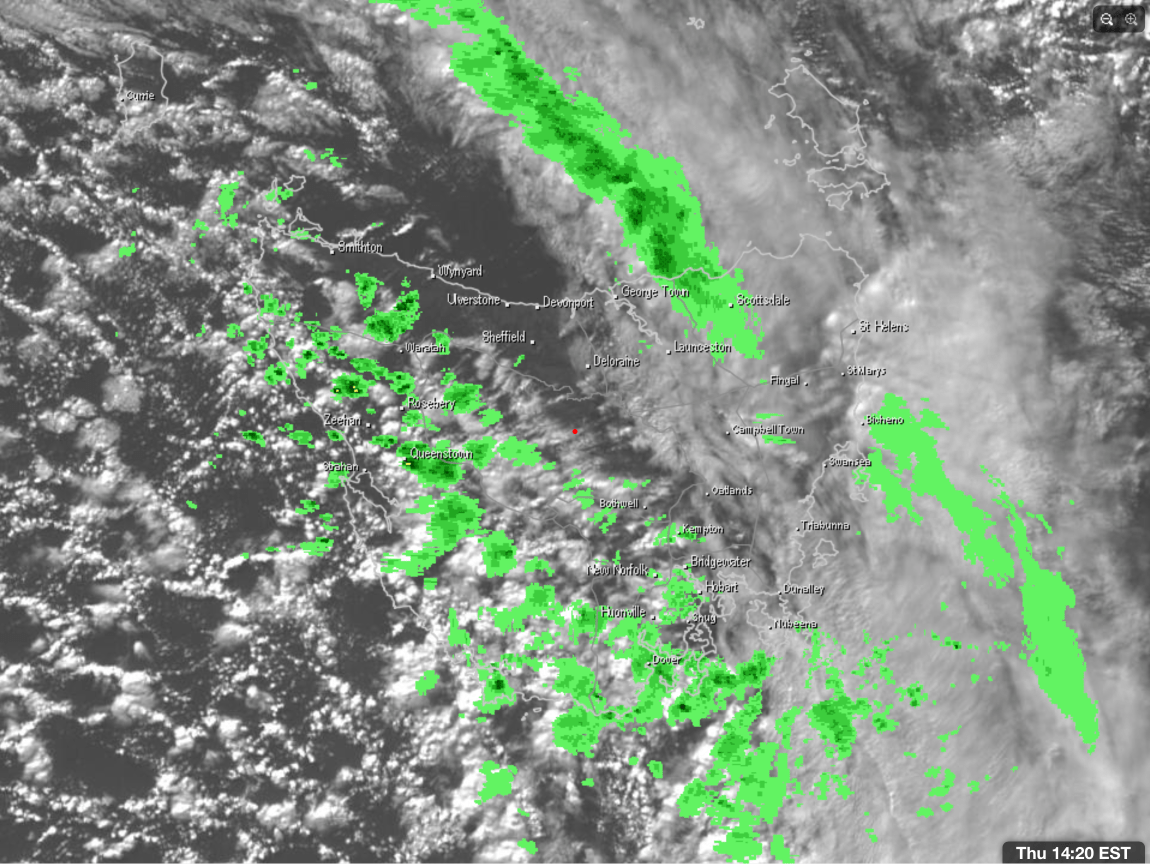 2:30pm radar and satellite of Tasmania showing the showers impacting the West via Weatherzone