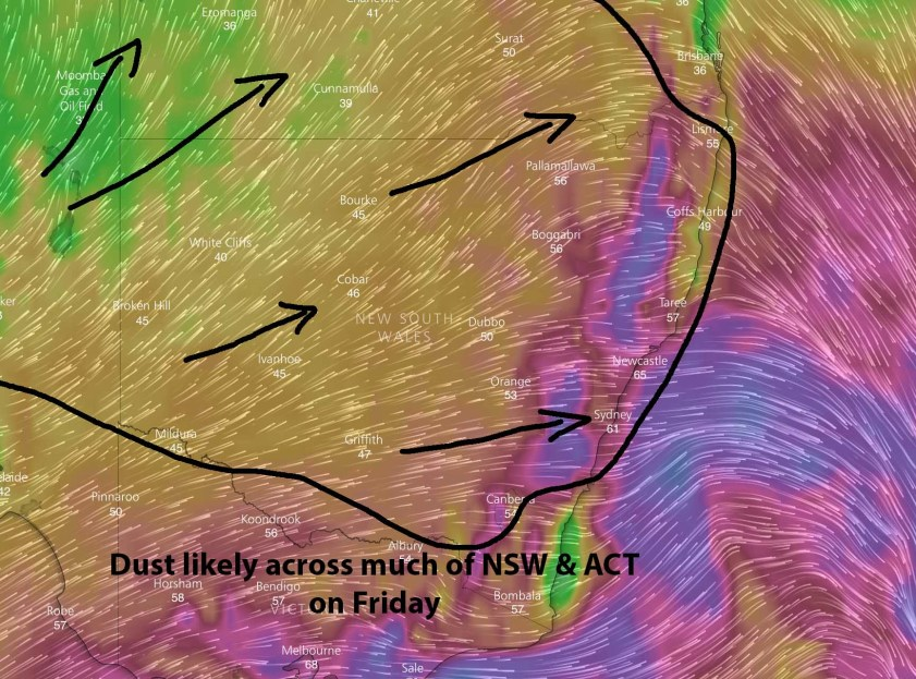 Dust threat area with wind gusts for Friday afternoon via Windy.