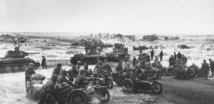 Avant-garde sociétique pendant l'opération URANUS d'encerclement de Stalingrad, novembre 1942