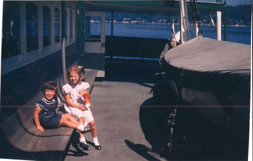 jeane and her sister on the ferry to vashon