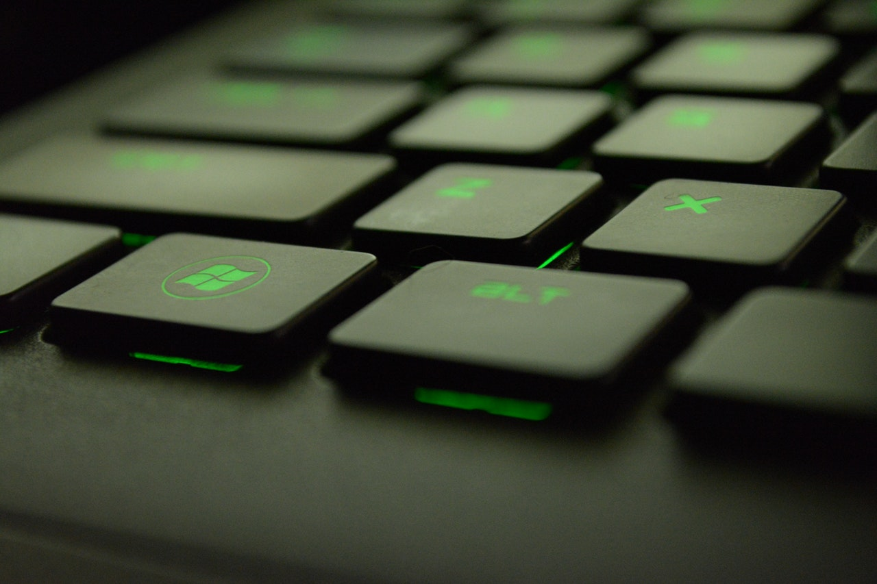 Black keyboard with green letters