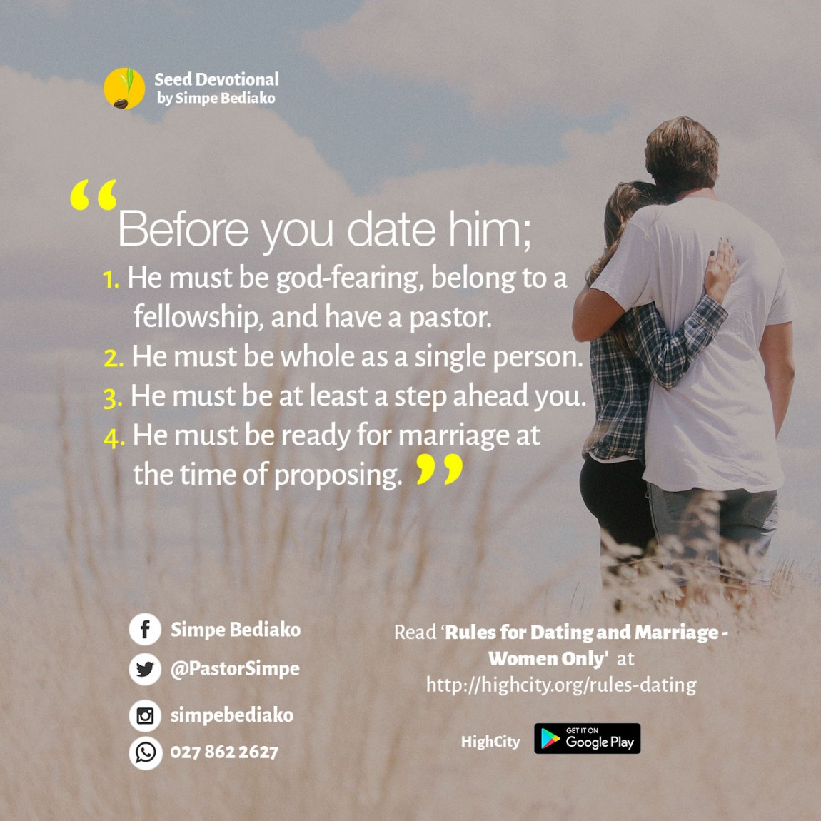 Dating a pastor rules