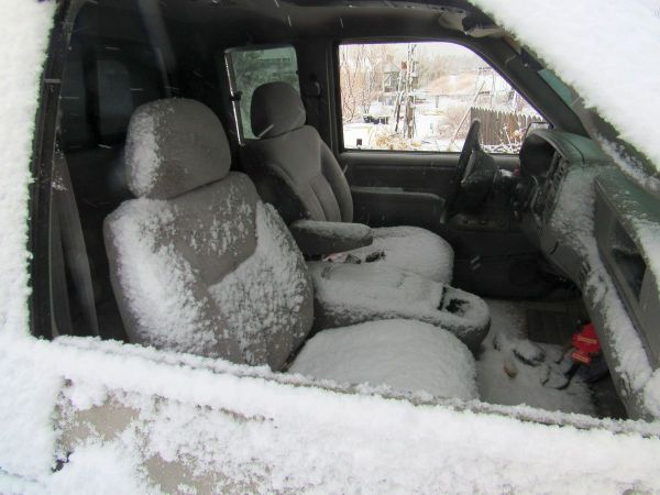 car seats full of snow