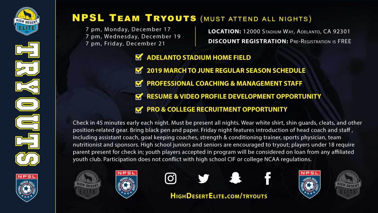 High Desert Elite kicks off 2019 NPSL tryouts December 17
