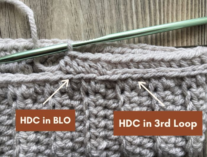 This is the difference between the half double crochet when placed in the back loop only versus the 3rd loop of the stitch.