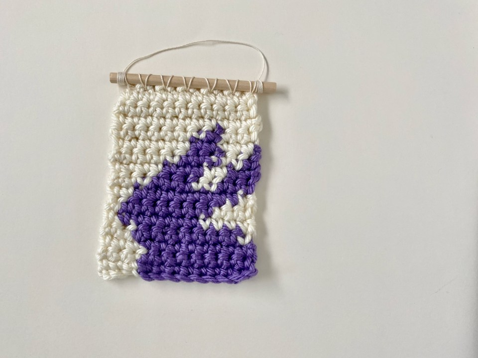 crochet bunny wall hanging