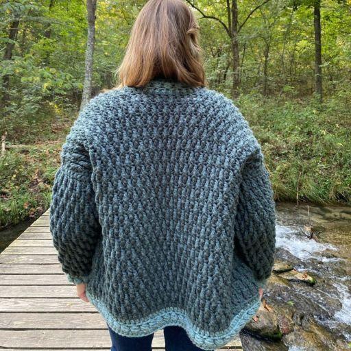 juniper berry cardigan high desert yarn crochet bulky cardigan