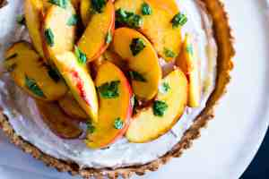 image of close up vegan peach basil tart
