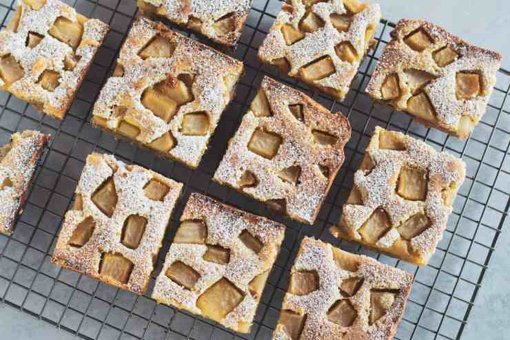 image of brown butter pear bars on cooling rack