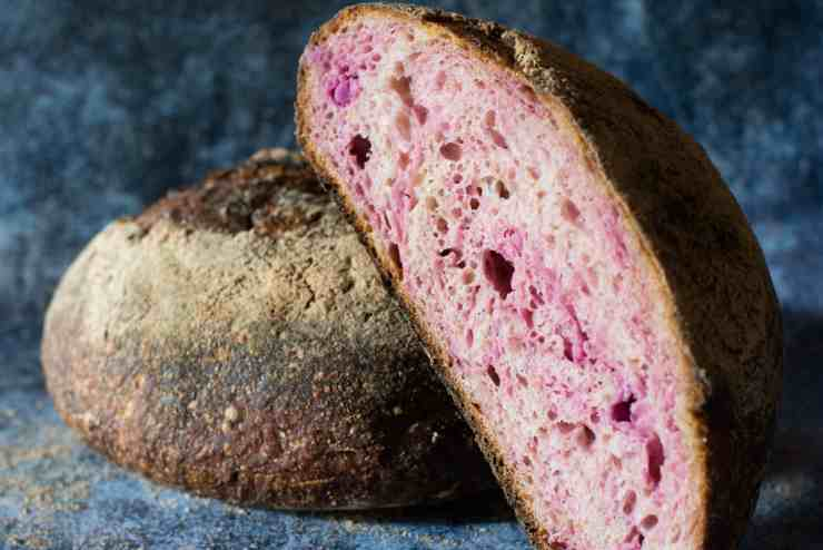 image of side shot purple sweet potato sourdough