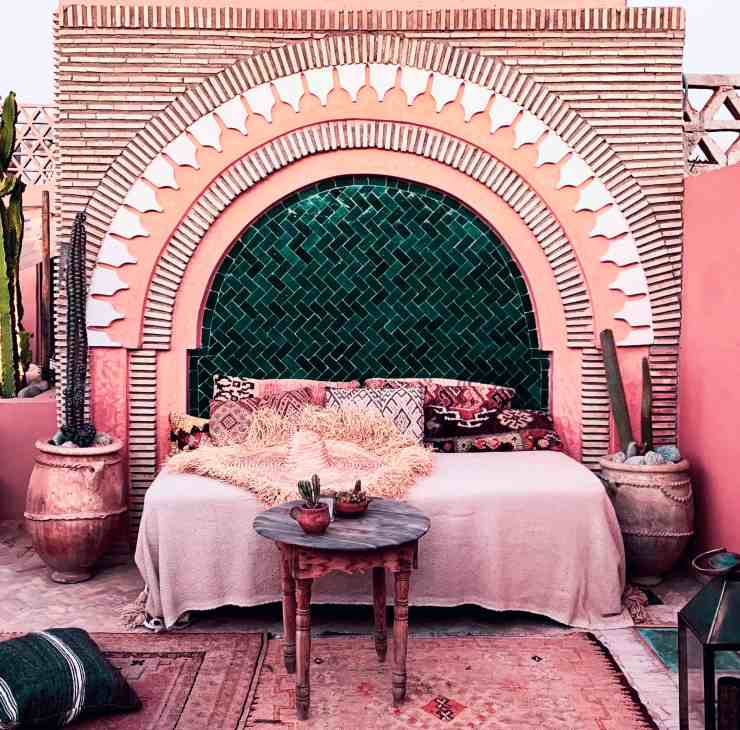 image of cozy pink rooftop riad in marrakech, morocco as the photo for a gift guide for 2021