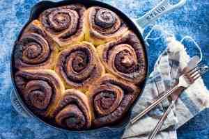 image of vegan sourdough squash cinnamon buns recipe