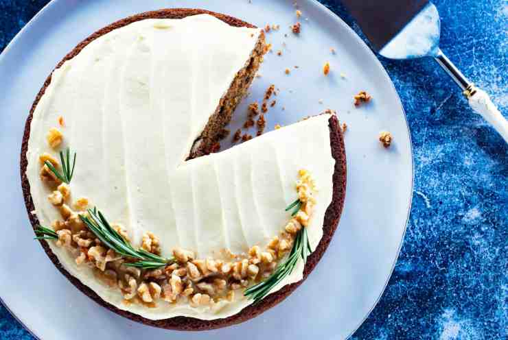 image of carrot cake with sourdough, sliced