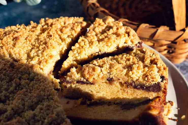 image of close up sliced red bean coffee cake recipe with basket