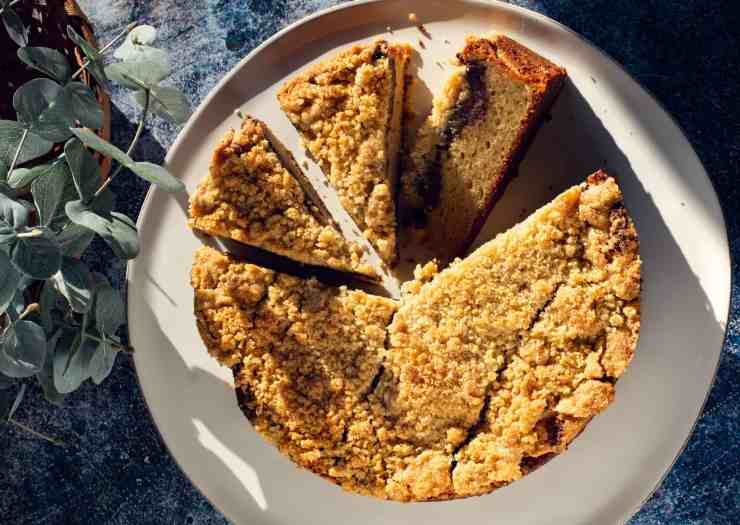 image of red bean coffee cake recipe, sliced and with plenty of cracked crumble on top