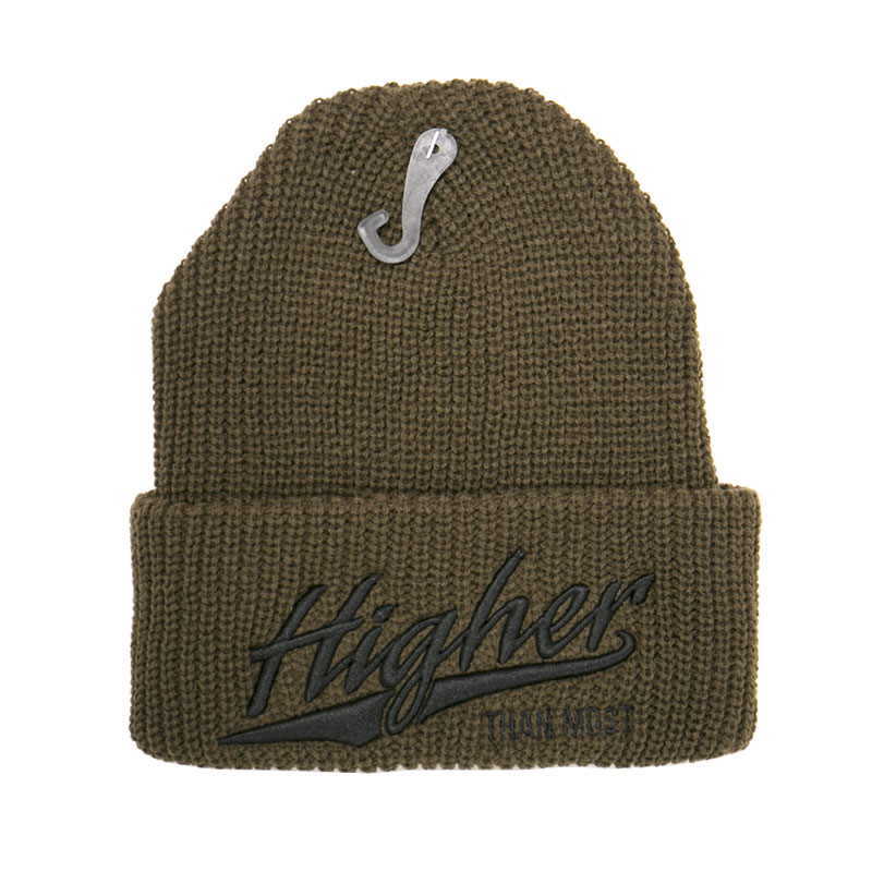 544a6664ab150 Higher Than Most Beanie Army Green Black - Higher Apparel