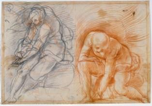 "Jacopo Pontormo, ""Two Studies of Male Figures,"" 1521, Florence, Gabinetto Disegni e Stampe degli Uffizi"