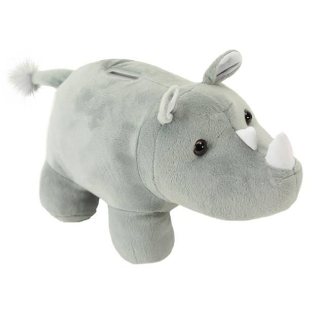 Rhino coin bank plush