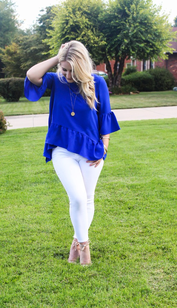 Flirty Blue Ruffle Top from Nordstrom Styled by Julia Hartz