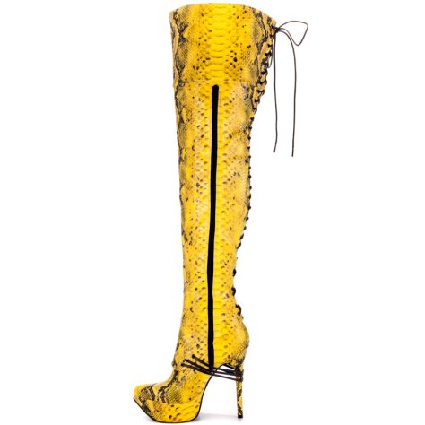 yellow thigh high boots