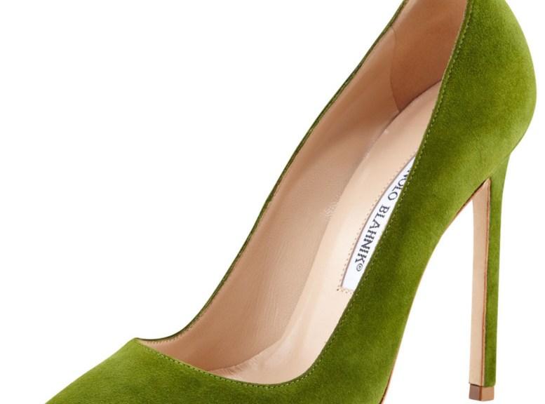 Manolo Blahnik green high heels