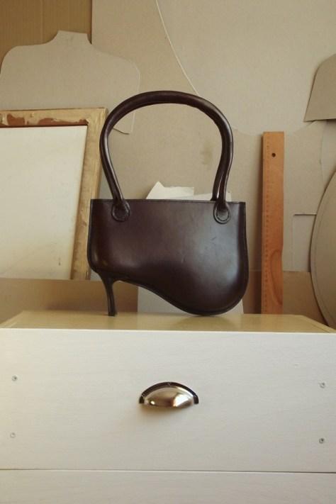 high heeled handbag