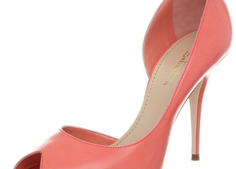 orange peep toe high heels
