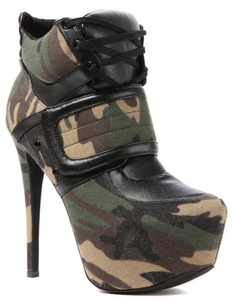 Army high heel sneakers