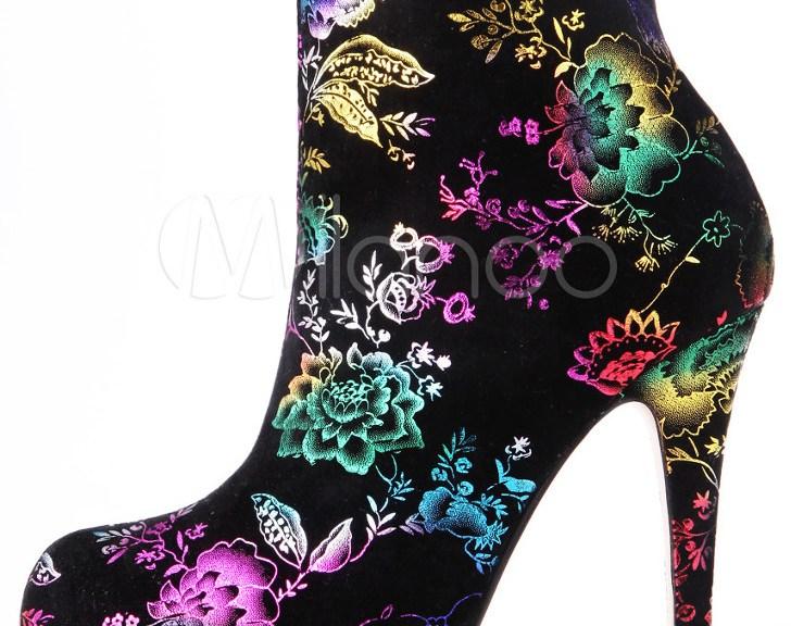 floral high heel booties