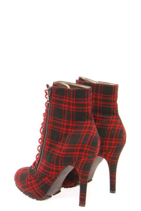 Boohoo High Heel Red and Black Booties