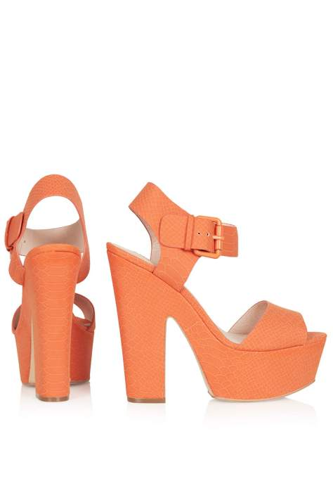 High Heel Orange Sandals