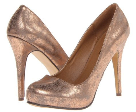 copper coloured high heels