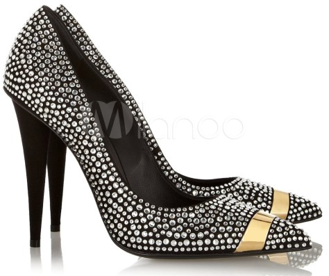 blinged out wedding shoes