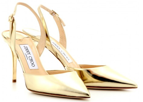 Jimmy Choo gold slingbacks