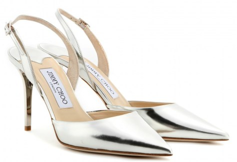 Jimmy Choo silver slingbacks