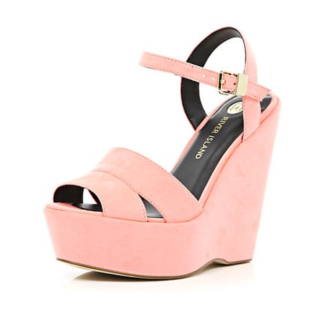Pink Wedge Sandals
