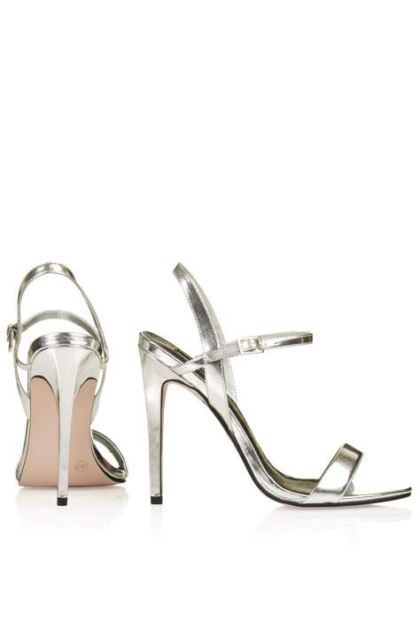 High Heel Silver Strappy Sandals