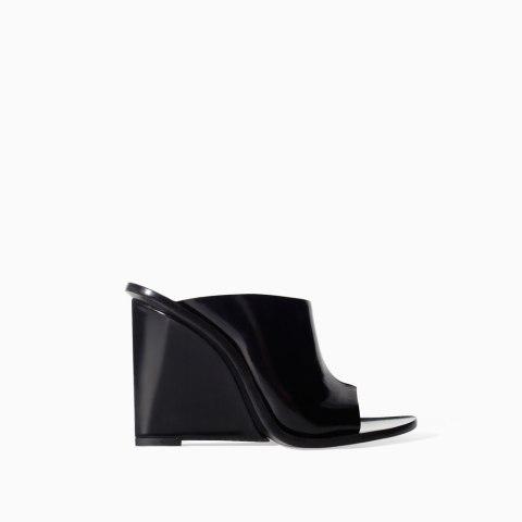 Zara Leather High Heel Wedges