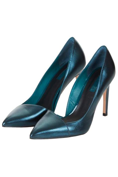 HIgh Heel Blue Metalic Pumps