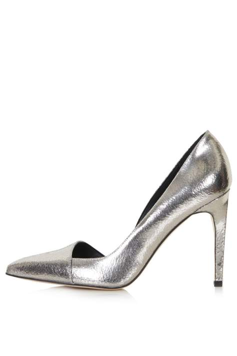 Silver High Heel Court Shoes